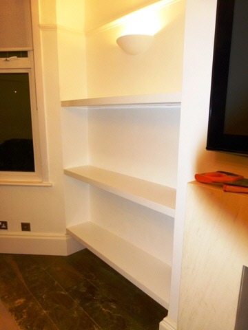 high gloss shelves fitted